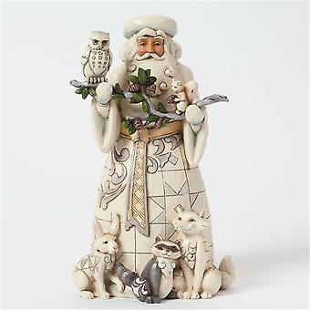 Jim Shore Heartwood Creek White Woodland Santa With Animals Statue Figurine