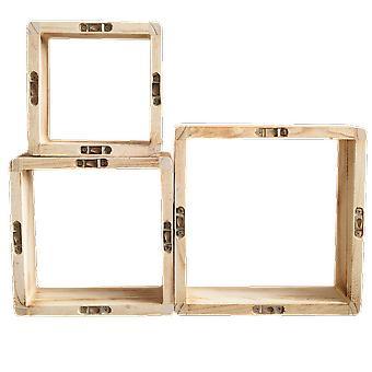 Rebecca Furniture Set 3 Planken Square Boekenkast Light Wood Design Retro 26x26x9