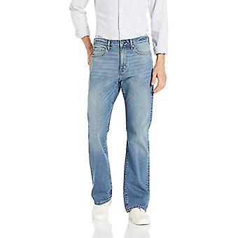 Essentials Men's Straight-Fit Stretch Bootcut Jean, Light Wash, 34W x ...