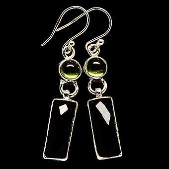 Musta Onyx, Peridot 925 korvakorut 1 3/4&; (925 Sterling Silver) - Käsintehty Boho Vintage korut EARR405598