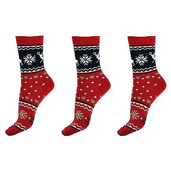 Women & apos;s موسم عيد الميلاد عارضة القطن الفتيات على جوارب الكاحل 4-6 المملكة المتحدة