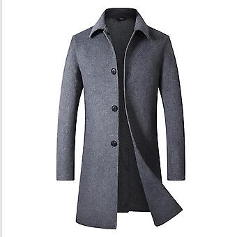 Men's Woolen Single Breasted Winter Trench Jacket Woolen Pea Coat