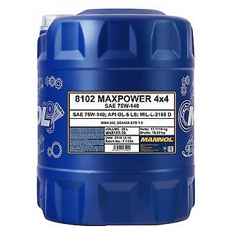 Mannol 20L Maxpower 4x4 Huile de transmission entièrement synthétique 75W-140 API GL-5 LS