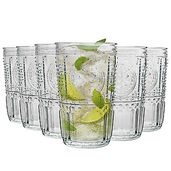 Bormioli Rocco Romantiska Räfflade Highball Cocktail glasögon Set - 475ml - Förpackning med 6