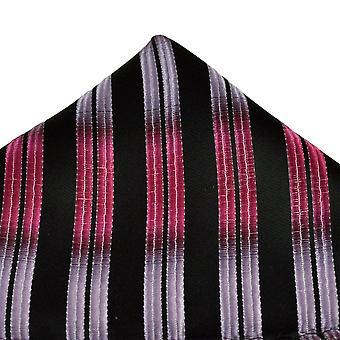 Slips Planet Sort, Pink & Lilla Stribet Pocket Square lommetørklæde