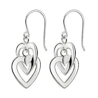Dug sterling sølv dobbelt hjerte link dråbe øreringe 61004HP028
