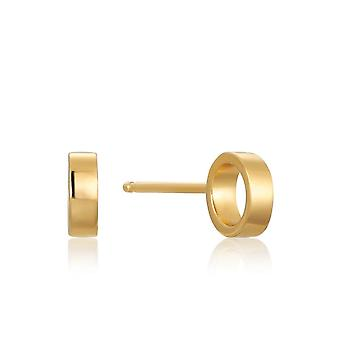 Ania Haie Sterling Silver Shiny Gold Plated Open Circle Stud Earrings E008-13G