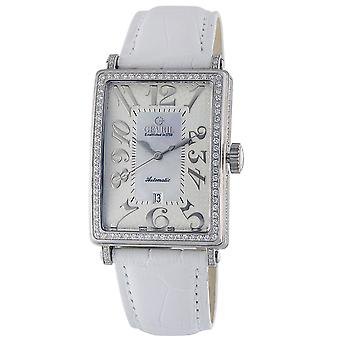Gevril Women's 6209NV Glamour Automatisk Diamond MOP Dial läder Datum Klocka