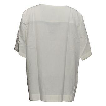 Martha Stewart Women's Top Elbow-Sleeve Zipper Detalhe Branco A355013