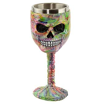 Collectable Decorative Rainbow Marble Effect Skull Goblet