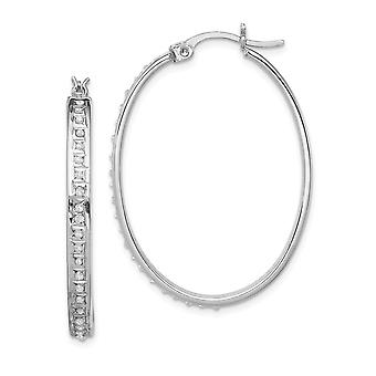925 Sterling Silver Polished Gift Boxed Platinum plated Diamond Mystique Oval Hinged Hoop Earrings Measures 37x4mm Jewel
