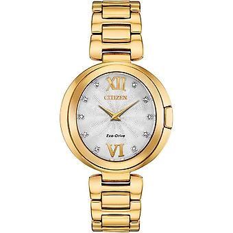 Citizen Ex1512-53a Ladies Eco-drive Capella Diamond Gold Stainless Steel Watch