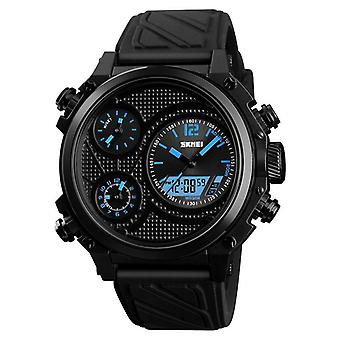 SKMEI 1359 3 Valitsinta Dual Display Watch Chronograph Hälytys Valovoimanäyttö