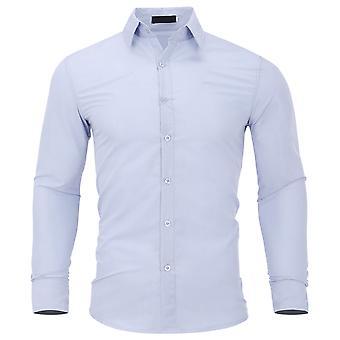 يانغفان الرجال & apos;ق الصلبة لون سليم قميص طويل الأكمام