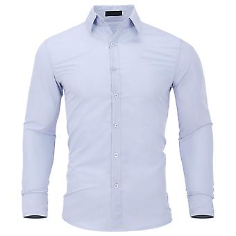 YANGFAN Men's Solid Color Slim Long Sleeve Shirt