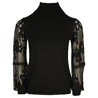 Leo & Ugo Black Fine Knit Polo Neck Jumper With Long Sheer & Lace Sleeves