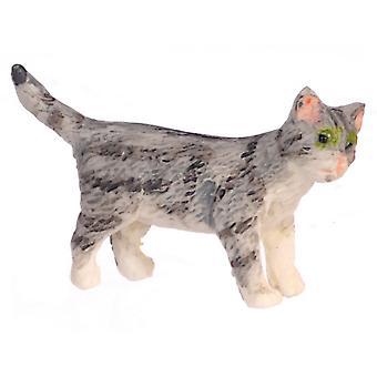 Dolls House Grey Kitten Standing Turning Right Miniature Pet Cat 1:12