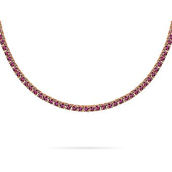 Collier Tennis on Precious Stones & 18K Gold - Rose Gold, Pink Sapphire