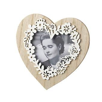 Natural Wooden Heart Frame With Floral Effect By Heaven Sends