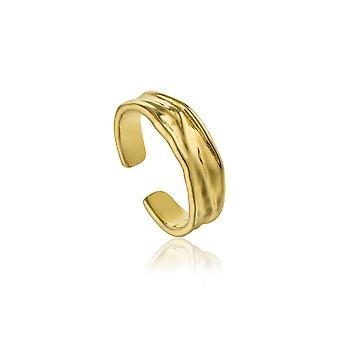 Ania haie Sterling sølv skinnende gullbelagt knuse justerbar ring R017-01G