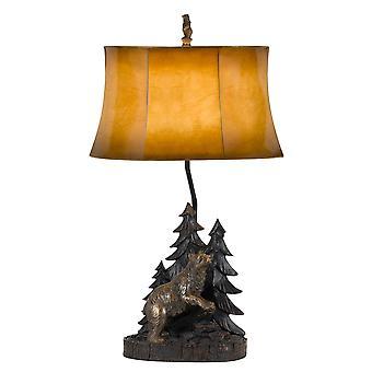 Lámpara de mesa de cuerpo de resina de 3 vías con diseño de bosque y oso, marrón y negro
