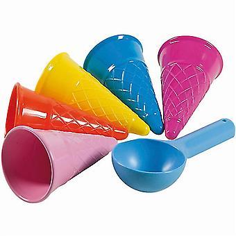 5 Pcs Cute Ice Cream Cone Scoop Beach Sand Toy