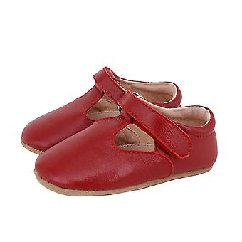SKEANIE Leather T-Bar Shoes in Red