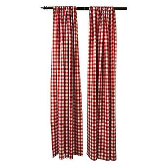 La Linen Pack 2  Polyester Gingham Checkered Backdrop, 58 By 96-Inch,Red/White