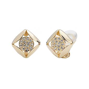 Traveller Clip Earrings Gold plated with Crystals from Swarovski 10x10mm - 157169