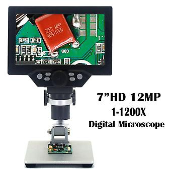 7' Hd 12mp 1-1200x lcd digitales Mikroskop elektronische Videomikroskope pcb bga smt löten Telefon Reparatur Lupe Legierung Stand
