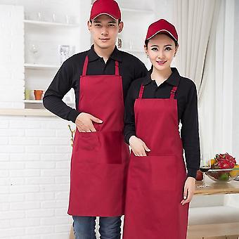Unisex Work Kitchen Waiter Apron Cooking Baking Restaurant Aprons With Pockets