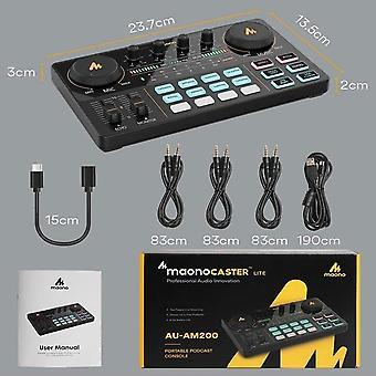Kit mezclador de micrófono profesional instrumento de audio ajustable podcaster amplificador de tarjeta de sonido condensador para transmisión en vivo