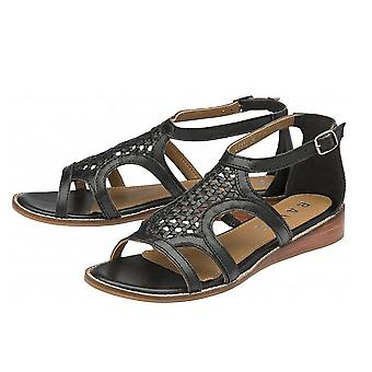 Ravel Cardwell Leather Wedge Sandals  - Black