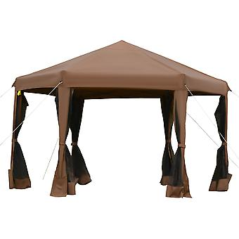 Outsunny 3.2m Pop Up Gazebo Hexagonal Canopy Tent Outdoor Sun Protection with Mesh Sidewalls, Handy Bag, Brown