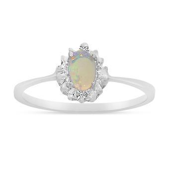 LXR 10k Hvidguld Oval Opal og Diamantring 0,19ct