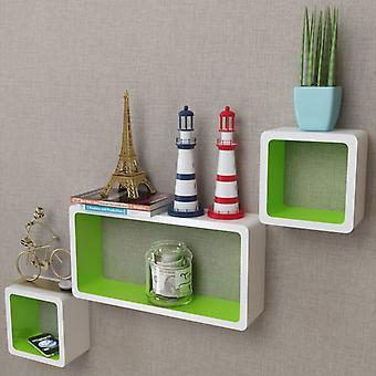 Sarja 3 MDF kuutiohyllyn ripustushyllyn seinähyllyä kirjoille / DVD: lle, valkoinen-vihreä