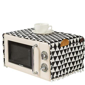 Cotton Linen Fabric Microwave Cover Towel Refrigerator Washing Machine Black Plaid Dust Cover