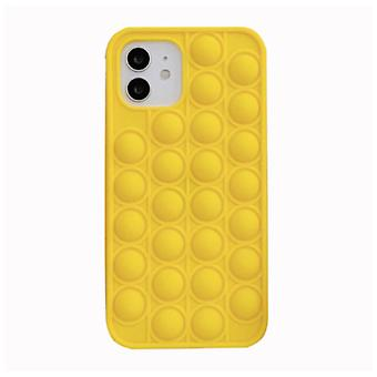 N1986N iPhone 12 Pro Max Pop It Case - Silicone Bubble Toy Case Anti Stress Cover Yellow