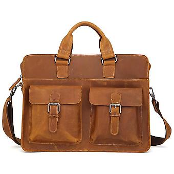 Men's Cow Genuine Leather Briefcase, Leather Messenger Bag
