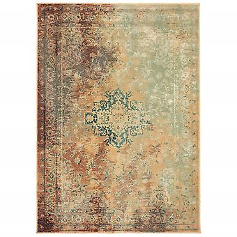 4' x 6' Brown and Gold Medallion Indoor Area Rug