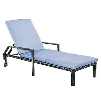 Outsunny Outdoor PE Rattan Wicker Chaise Sun Lounger Recliner Garden Chair  with 5-Level Adjustable Backrest and 2 Wheels, Mixed Grey