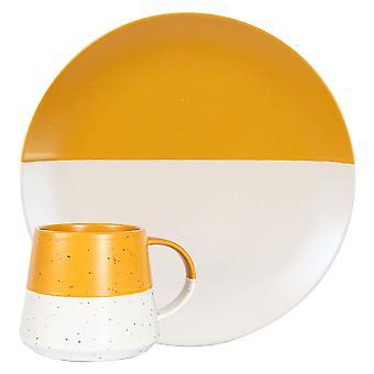 8 stuk keramische gedrenkte gevlekte borden en koffiemokken set patroon servies mosterd