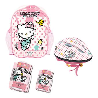 Hello Kitty - Club Children's Helmet, Knee, Elbow Protection Set with Carry Bag, Girl, Ages Three Years and Above, Pink/White (OHKY004-2)