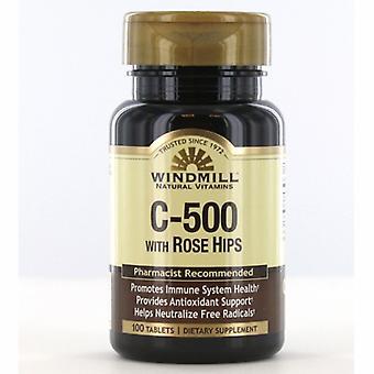 Windmill Health Vitamin C Rose Hips, 500mg, 100 Tabs