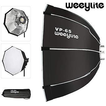 Weeylite vp-65 65cm octagon umbrella softbox portable outdoor folding flash soft box bowens mount for cob video light speedlite
