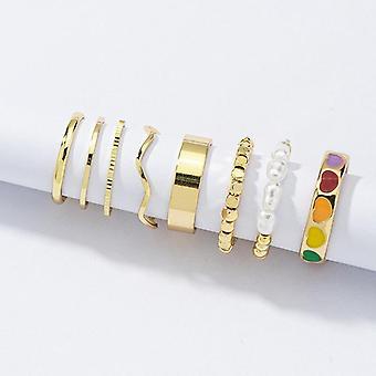Set m 8 pcs 18 k Anillos chapados en oro anillos de colores corazones cuentas