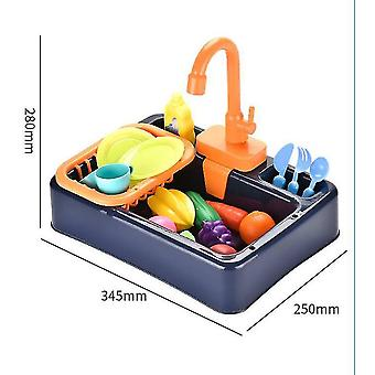 Kitchen Sink Toys, Children Heat Sensitive Electric Dishwasher Playing Toy With Running Water(Black)