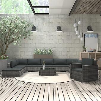 vidaXL 11 pcs. Garden Lounge Set with Pads Poly Rattan Grey