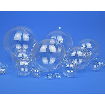 6 Kaksiosainen 50mm täytettävä läpinäkyvä muovi joulupallo koristeet