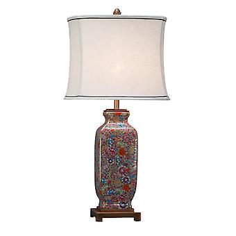 Fine Asianliving Oriental Table Lamp Porcelain z Lampshade Multicolour Ręcznie malowane